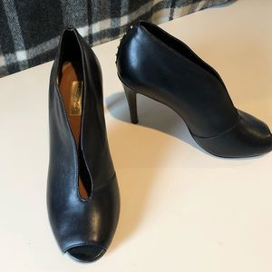 Halogen black leather heel, gold detail. Size 7.5